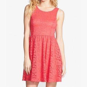 Lush Pink skater dress w/ floral design EUC